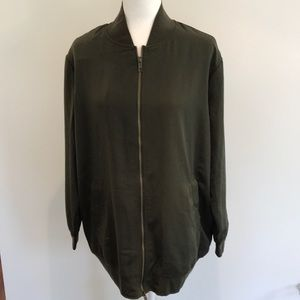 Who What Wear olive green longline bomber